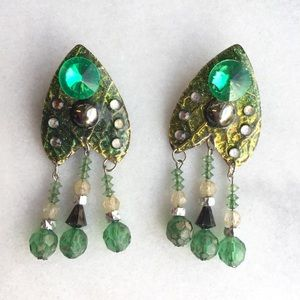 Vintage Handmade Green Beaded Earrings